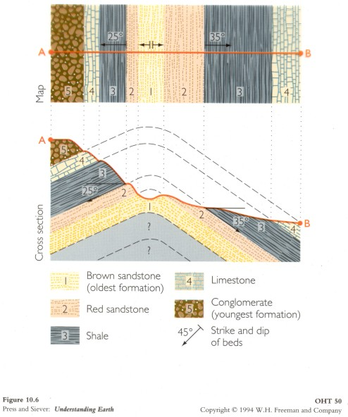 This diagram uses Strike and Dip of repeating rock units to produce a geologic map and to infer the underlying fold.